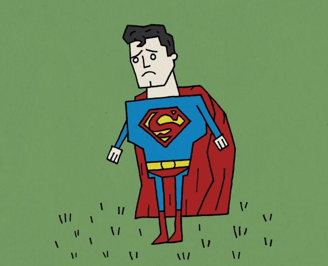 Sad Superman in a Field