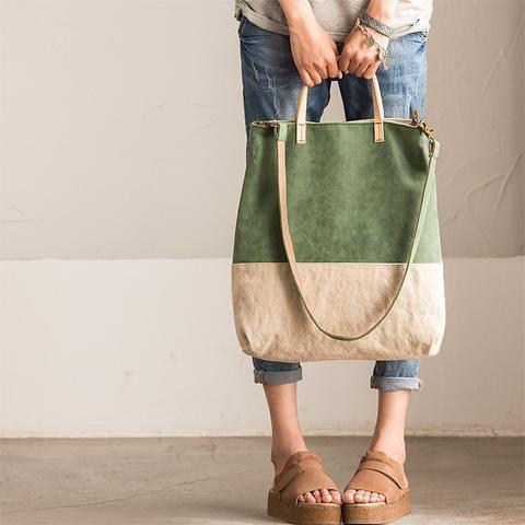 Art Canvas and Leather Contrast Color Rectangle Handbag D0037A
