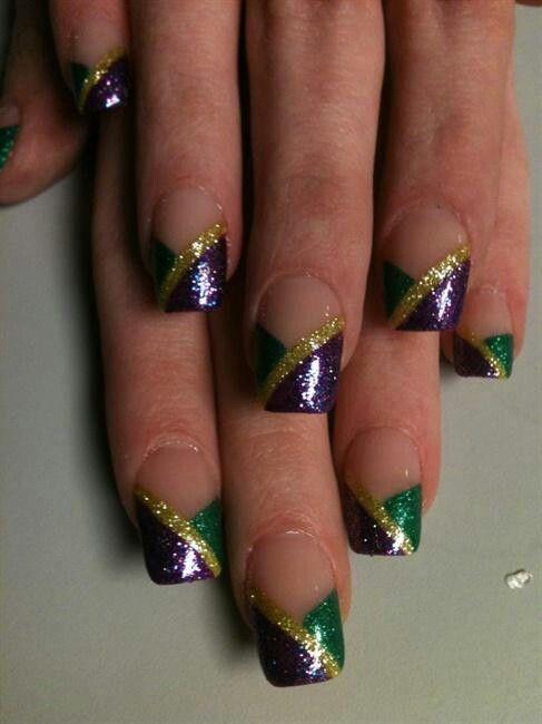Mardi Gras nail art
