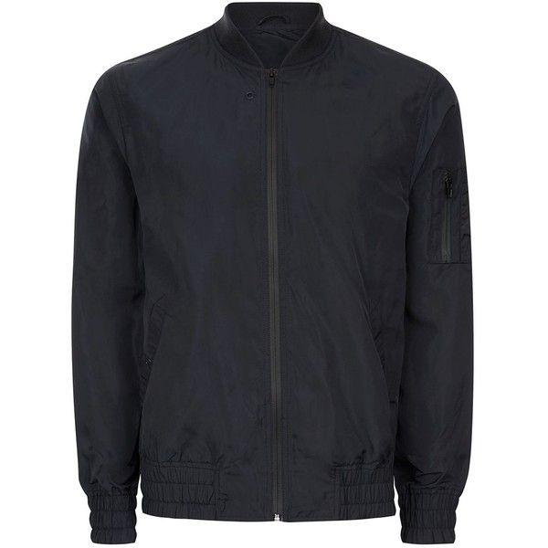 TOPMAN Navy Lightweight Bomber Jacket (105 BRL) ❤ liked on Polyvore featuring men's fashion, men's clothing, men's outerwear, men's jackets, navy, mens navy jacket, mens light weight jackets, mens navy bomber jacket, mens polyester jackets and mens polyester bomber jacket