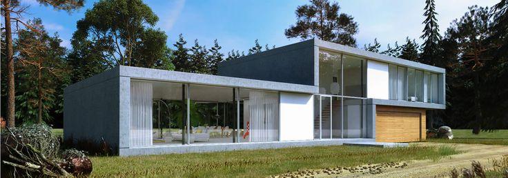 Op een open plek in een bosrijke omgeving is deze villa gesitueerd. Door het vele glas in de voor- en achtergevel wordt het interieur één met de omgeving en versmelt het gebouw met zijn omgeving. Het landschap wordt zo maximaal naar binnen gehaald. De gevels en dakranden zijn uitgevoerd in geprefabriceerde geïsoleerde elementen. Het minimalistisch kleur- en materiaalgebruik zorgen ervoor dat het gebouw haar omgeving versterkt.  #modernewoning #villa #architectuur