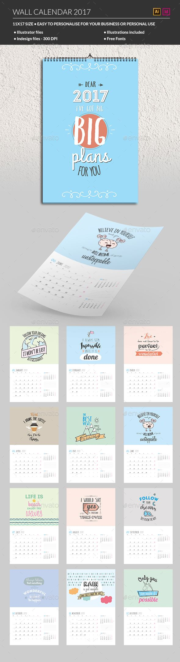Wall Calendar 2017 Template Vector EPS, InDesign INDD