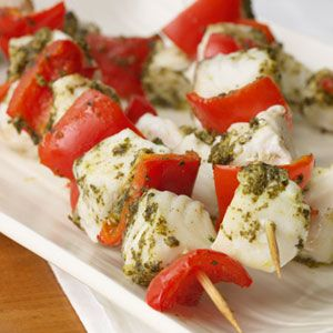 Pesto Halibut Kebabs | MyRecipes.com -|- Ingredients 1 1/2 pounds halibut, cut into 1-inch chunks $ 1 large red bell pepper, cut into 1-inch chunks $ 3 tablespoons prepared basil pesto 2 tablespoons white wine vinegar 1/2 teaspoon salt Cooking spray