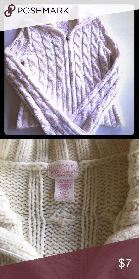 White Zip Up Sweater Great condition. Only worn a few times. I believe it's a juniors XL. Arizona Jean Co. Arizona Jean Company Sweaters Cowl & Turtlenecks