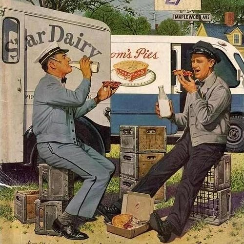 Milkman meets Pieman - Illustration by Stevan Dohanos [1958]
