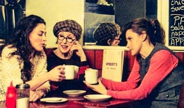 The Baker Street Babes, Una Stubbs (Mrs. Hudson, Louise Brealey (Molly Hooper) and Lara Pulver (Irene Adler)