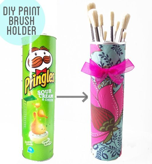 Pretty paint brush holder made from a recycled Pringles can.