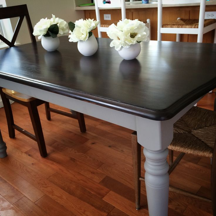 Annie Sloan chalk paint French Linen and Java stain over an old country oak table.