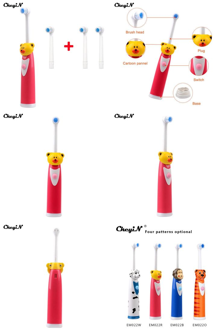 [Visit to Buy] CkeyiN Cute Children Kids Electric Toothbrush+4 Brush Heads Waterproof Soft Bristle Rotary Tooth Brush For Baby Teether Training #Advertisement