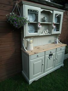 Antique Farmhouse Welsh Dresser Shabby Chic Large Solid Pine F&B Old White | eBay