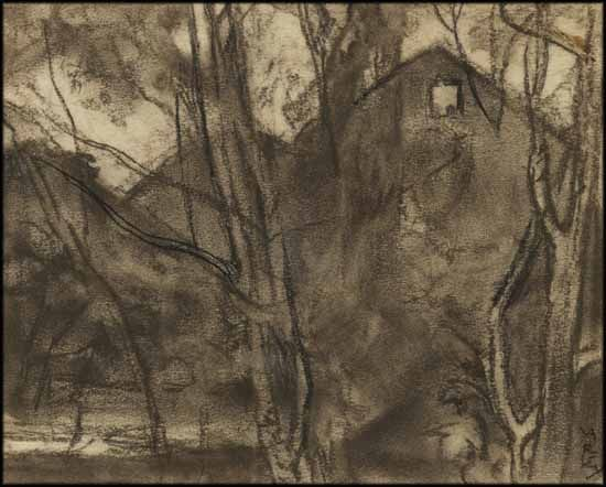 Frederick Varley - Houses in Trees 8.5 x 10.25 charcoal and pastel on paper