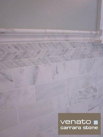 love the subway tile and herringbone detail tile design for full bath - Designs For Bathroom Tiles