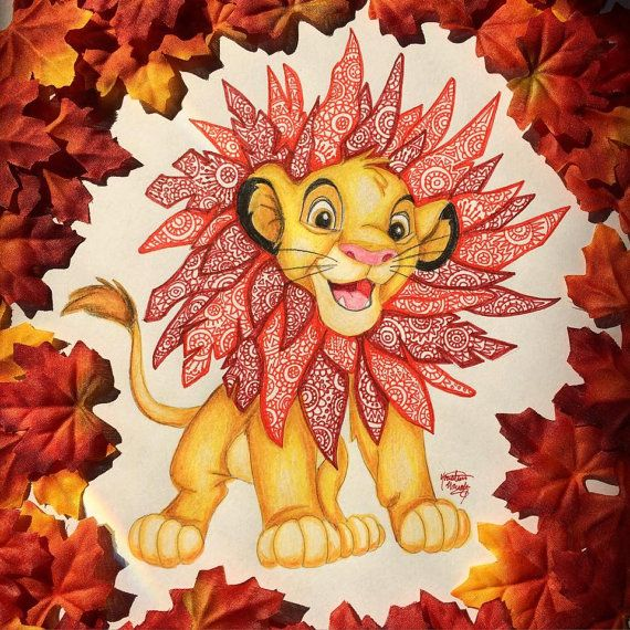 Impresión de Zentangle Simba por KristinaProjects en Etsy