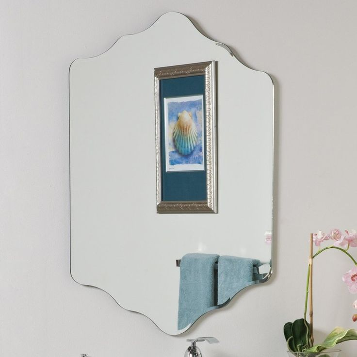 Decor Wonderland Vandam 23.6-in W x 31.5-in H Frameless Bathroom Mirror with Hardware and Beveled Edges