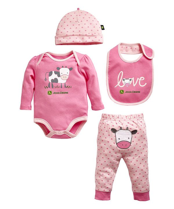 Look at this John Deere Pink Cow Layette Set - Infant on #zulily today!