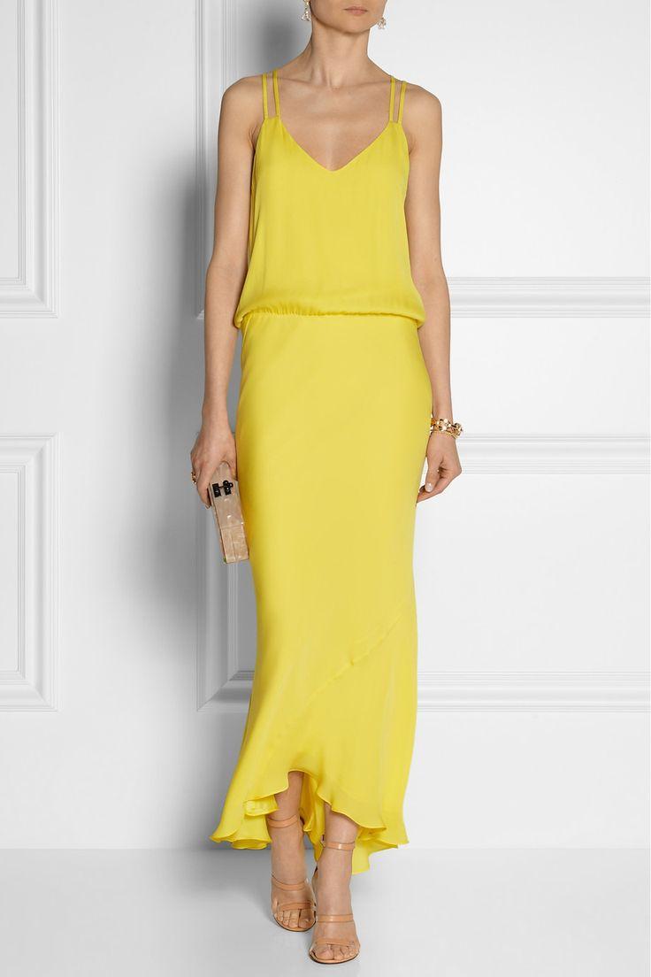 Mason by Michelle Mason|Washed-silk dress|NET-A-PORTER.COM #yellow