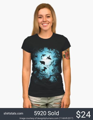 Travel to the depth of the sea! Deepness shows the ocean from the bottom up with a hammer head shark, another shark, turtle, sting ray, octopus, fish and sunlight shining through. This cool shirt grabs attention and have people looking like its the real ocean.