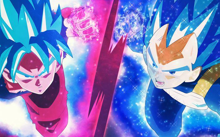 Download wallpapers Goku, Blue Super Saiyan, 4k, DBS, manga, art, Dragon Ball Super