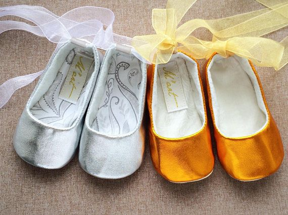 GOLD baby shoes SILVER baby shoes baby ballerina shoes baby