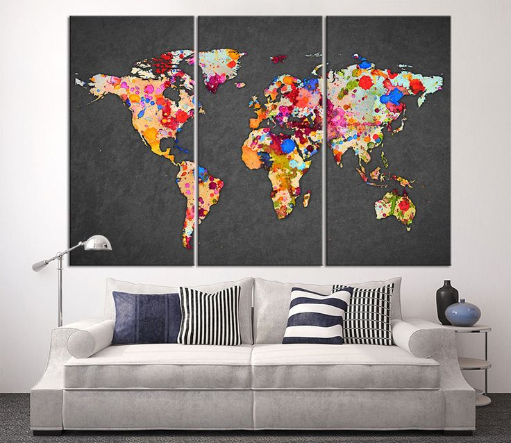 3 Piece World Map Canvas Print on Gray Background, Large World Map Wall Art, Splash World Map Canvas Print, Watercolor  Map Canvas Wall Art