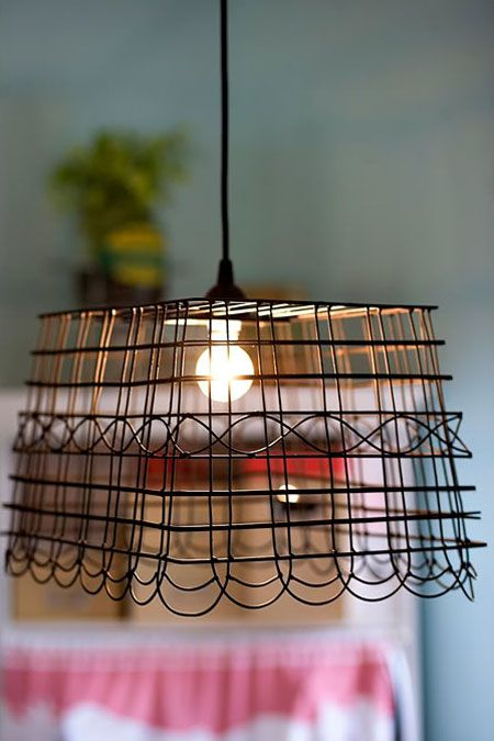 Anthropologie-Inspired Pendant Light : How cool to make a lamp from a wire basket.  <--I might use this idea to describe the ugly-A lights in the basement! Sweet.