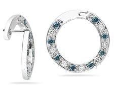 Kruhové náušnice s modrými a bielymi diamantmi, 1500