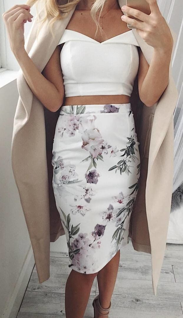 05b7bc813f #winter #outfits white and multicolored floral skirt and white off-shoulder  top outfit