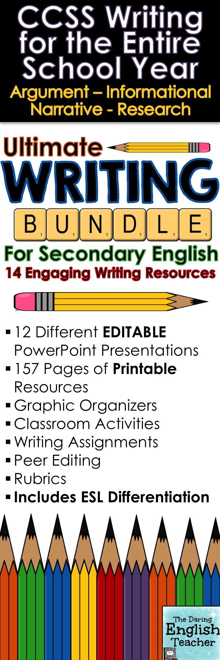This Ultimate Writing Bundle includes an entire year's worth of common core writing instruction and assignments for secondary English teachers. There are 365 slides of editable PowerPoint presentations and 157 pages of printable resources. Teaching writing. Common Core Writing. High School English. Middle School English.