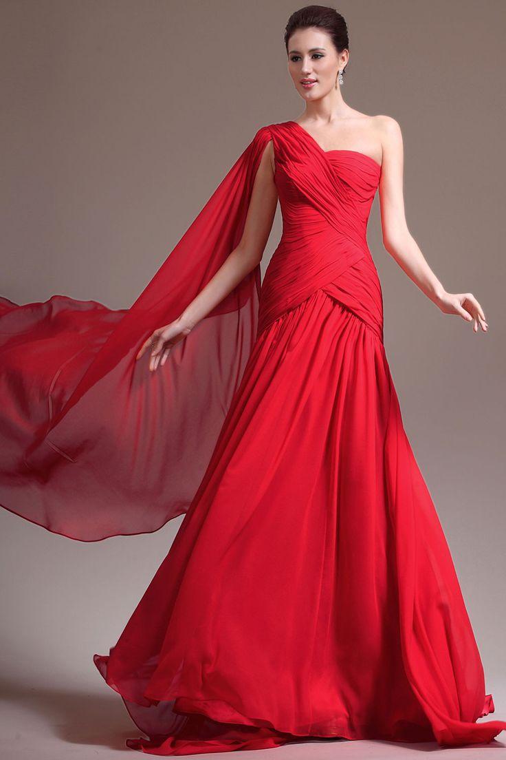 Red Court Train One Shoulder Mermaid Chiffon Sleeveless Prom Dress