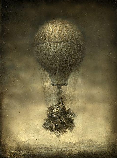 Escape, Yaroslav Gerzhedovich: Airship, Yaroslav Gerzhedovich, Inspiration, Illustrations, Art, Tattoo, Hot Air Balloons, Steampunk, Drawing