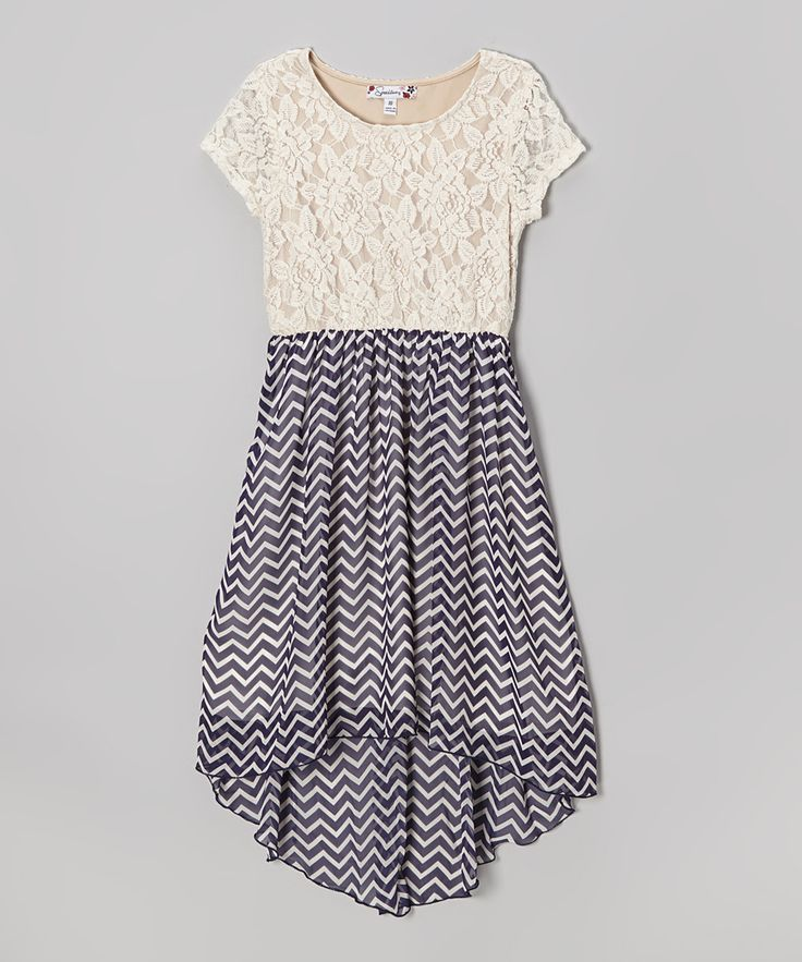 Ivory Lace & Zigzag Navy Hi-Low Dress | Daily deals for moms, babies and kids
