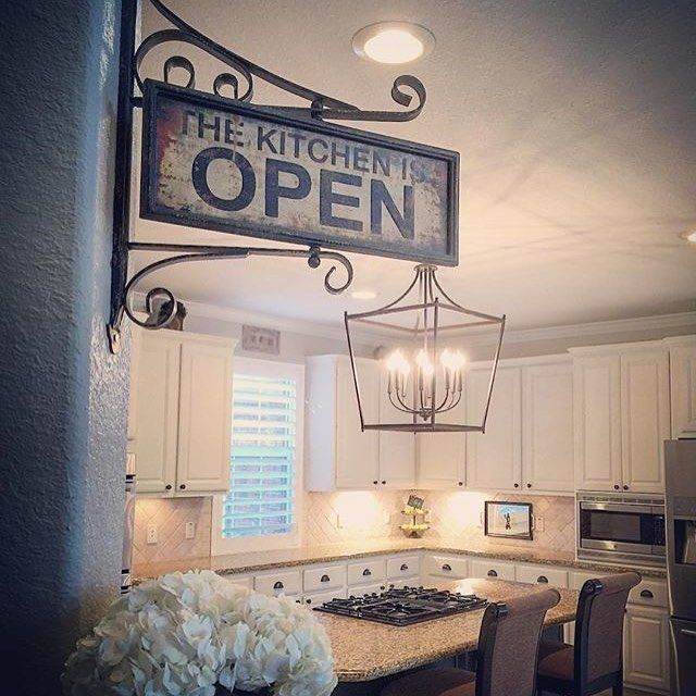 We are loving this #kitchen styled by VintageNVino. Our Open and Closed Kitchen Sign fits right in with her style! #decoratingideas #homedecor