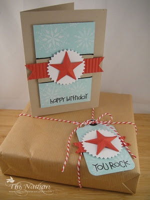 Boy birthday card and tag....I think the star was made from cardboard and painted or maybe from cardstock.
