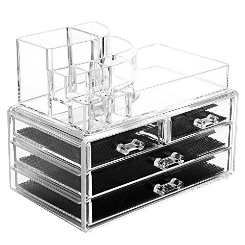 Acrylic Makeup Organizer Cosmetic Organizers Jewelry and Cosmetic Storage Grid Holders Durable Plastic Case Cabinets DisplayBox Colorless Two Piece Set with Removable Black Mesh Padding by Intriom *** Click image for more details.