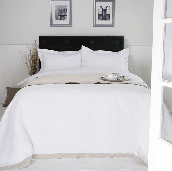 Linge de lit entretien facile en polycoton 120 fils SATIN RAYÉ (2cm)