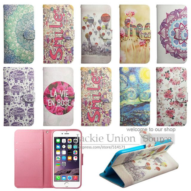 For Apple iPhone 6 Case Luxury Fashion Pattern Wallet Cover for iPhone 6s Case Phone 6 S PU Leather + Silicon Coque Funda Capa