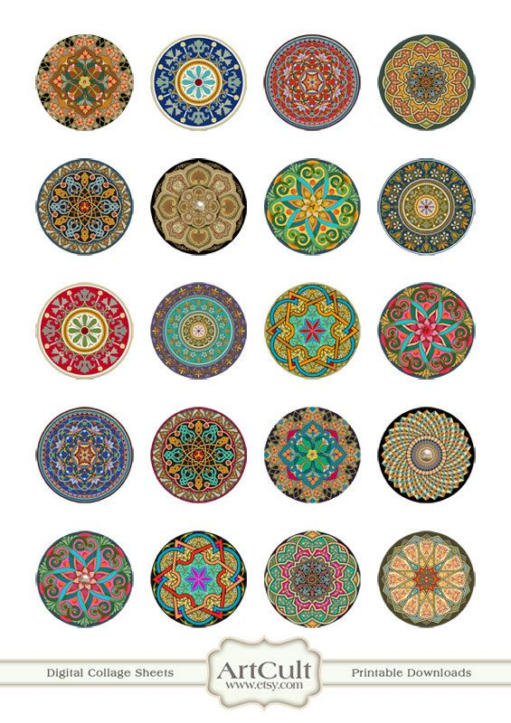 1 inch (25mm) and 1.5 inch size MOROCCAN ORNAMENT CIRCLES Digital Collage Sheet…