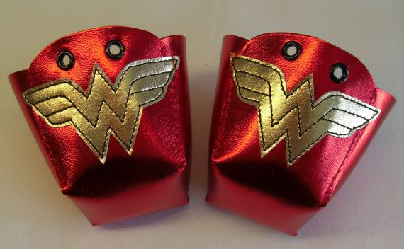 Leather Roller Derby skate toe guards with gold Wonder Woman