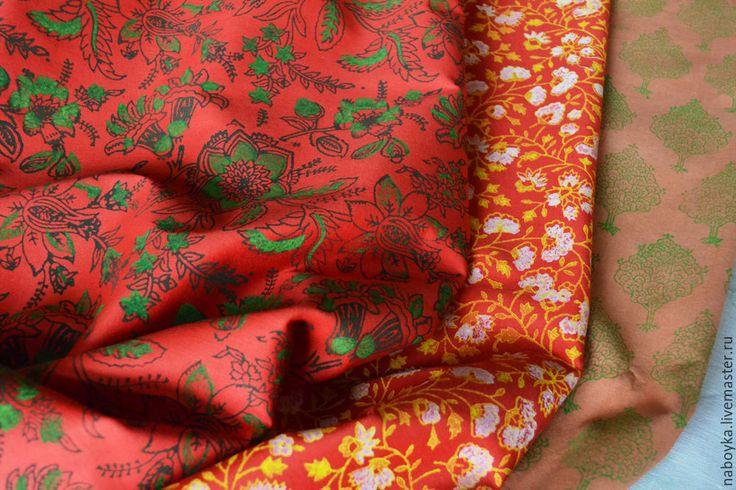 Купить Ткани. Ручная набойка. - разноцветный, цветочный узор, ткань для творчества, ткань для рукоделия