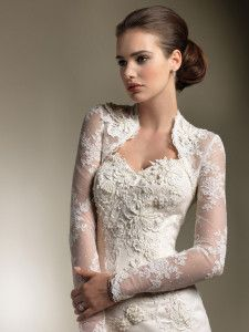 gorgeous lace sweetheart wedding dress long sleeve jacket; natural makeup and perfect low bun