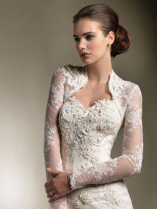 Long sleeved, Queen Anne neckline #Wedding #Dress ♡ How to plan a wedding app ... ♡ https://itunes.apple.com/us/app/the-gold-wedding-planner/id498112599?ls=1=8 ♡ Weddings by Colour ♡ http://www.pinterest.com/groomsandbrides/boards/