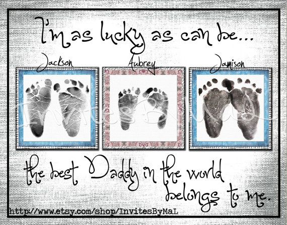 Personalized baby footprint or handprint keepsake gift (PERFECT for Father's Day, Mother's Day, Birthday, Grandparents, Aunt, Uncle, Godparent gift) by InvitesByMaL, $15.00        child(ren)'s hospital footprints are digitally edited onto the layout.     Wording can be edited to say mommy, daddy, grandma, grandparent, uncle, aunt, Godparent, or any name you would like to add.    Sizes: 1 footprint (8x10) - 2 sets of footprints (8x10) - 3 sets of footprints (11x14) - 4 sets of footprints…