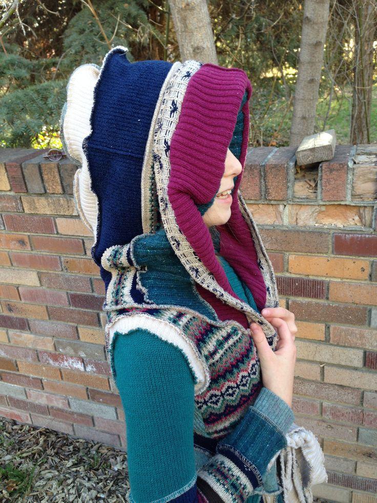 Upcycled Wool Sweater Coat, oversized hood, Child
