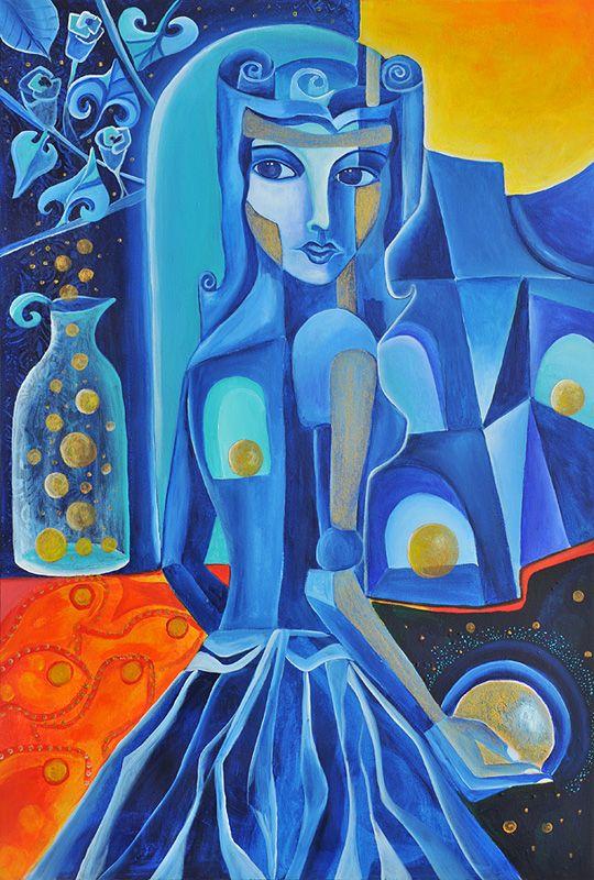 Die Sternschnuppensammlerin von Jeanett Rotter Figurative Kunst, Blau, Frau, Frauen, Sternschnuppe, Sterne, Kugeln,