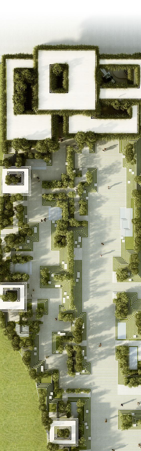 The project describes a landscape design and facade design for a residential development in Hyderabad / India and introduces a green and ecological design for the city. It combines traditional Indian elements like Indian Step-wells and Indian Mazes into t…