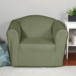 Montgomery II Sage Chair Slipcover. Deeply embossed box pattern. Renovation, home decor.