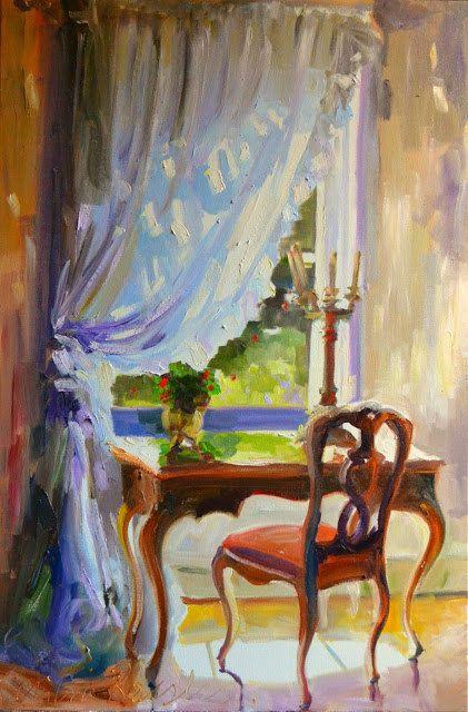 LE BUREAU Original Oil Painting French desk