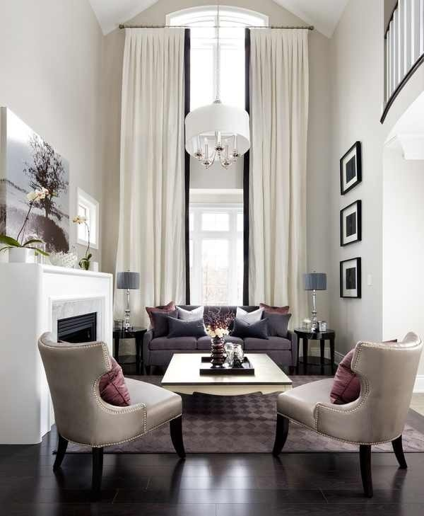 Modern Style Ideas Of Curtains For High Ceiling Windows Ideas: Modern High  Ceiling Window Design For Contemporary Living Room D.