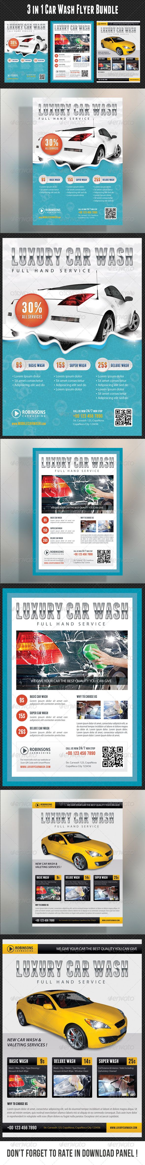 3 High impact, crisp and very easy to use Luxury Car Wash Flyer Templates.Perfect for a wide range of car wash related businesses like: Car Wash & Auto Detailing Services or Car Wash Equipment. Pack included:   3 Flyer Templates  3 High Resolution PSD Files