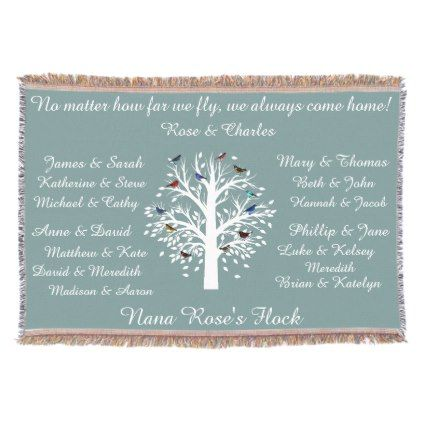 Nana's Flock keepsake family tree Personalized Throw Blanket - home gifts ideas decor special unique custom individual customized individualized